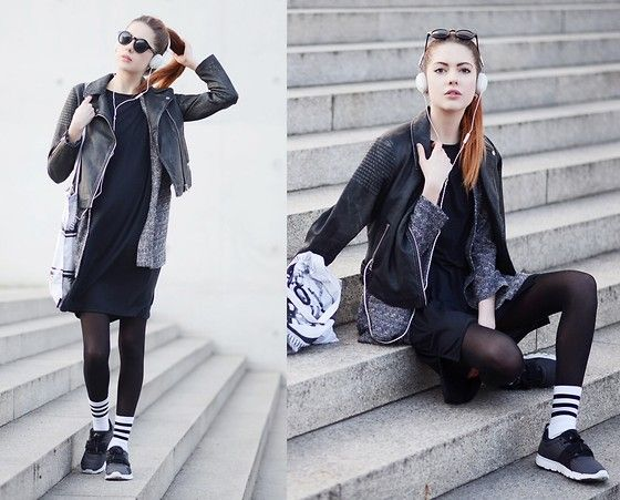 Topshop Biker, Monki Blazer, Molami Headphones, Nike Sneakers, Adidas Socks, For Good Luck Dress, Like Life Bag