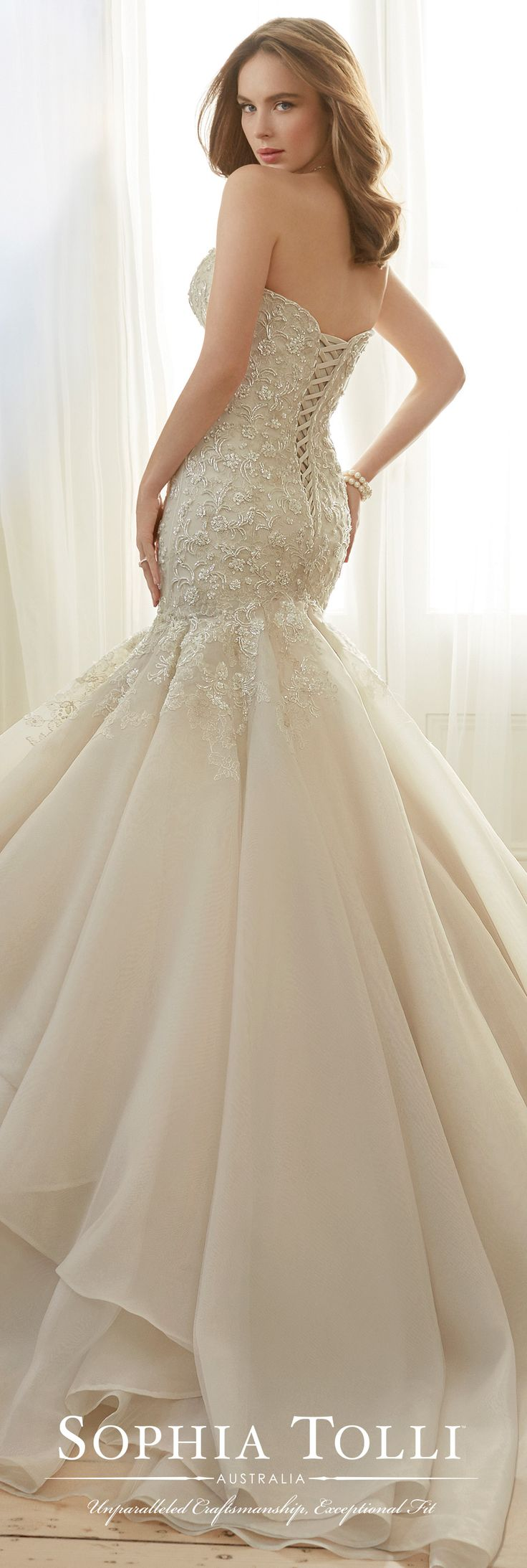 Sophia Tolli Spring 2017 Wedding Gown Collection - Style No. Y11729 Arielle - strapless beaded organza trumpet wedding dress