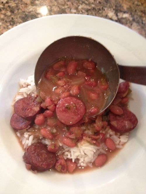Crock pot red beans and rice - use a chicken or turkey sausage to lighten it up. A warm and hearty meal.