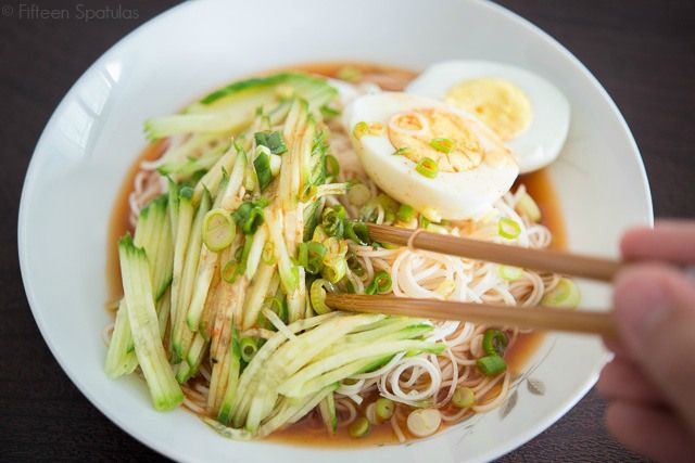 Cold Asian Noodles with Cucumber Print  Cold Cucumber Noodles Yield: Serves 4   Ingredients:  1/2 cup chicken broth 2 tbsp low sodium soy sauce 1 tbsp rice vinegar 1 tbsp fish sauce 1 tbsp sriracha 2 tsp sesame oil 1 scallion, chopped 2 12 oz packages of tomoshiraga somen noodles 1 seedless cucumber, julienned hard boiled eggs, for serving