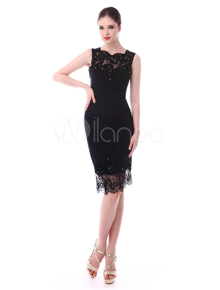glamour black a line jewel neck sleeveless elastic silk beading bridal mother dress milanoo - Milanoo Robe De Soiree Pour Mariage