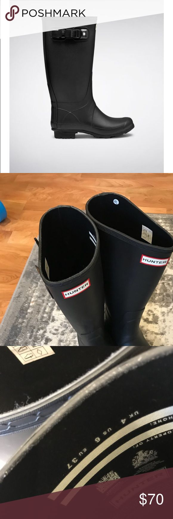 """Hunter Huntress Boots Matte Black sz 6 Like New condition. I purchased these on here without realizing they were the """"Huntress"""" style with a bit wider calf. Looking to get what I paid for them. Size 6 women. Hunter Shoes Winter & Rain Boots"""