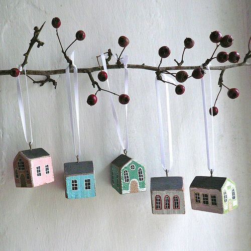 adorable little houses by Valeriane LeBlond acrylic inks on wood