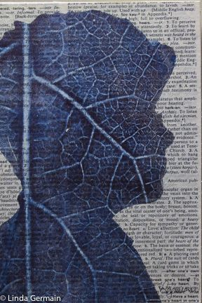 a gelatin monotype printed with a large leaf and a stencil of my profile