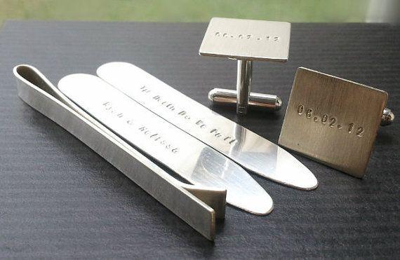$135 Sterling Silver Gift Set - Tie Clip, Cufflinks & Collar Stays custom inscribed.