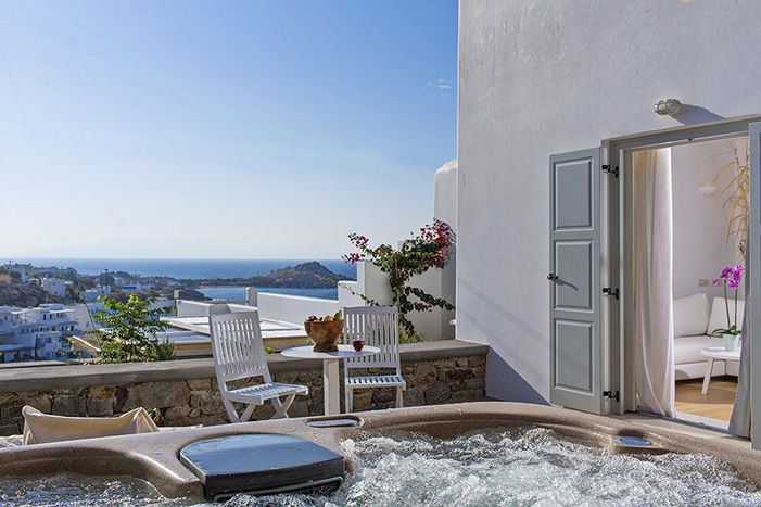 Myconian Ambassador Thalasso Spa above the Platis Yialos beach and offering stunning views of the sea. #Greece, Mykonos #RelaisChateaux #therapeuticspa