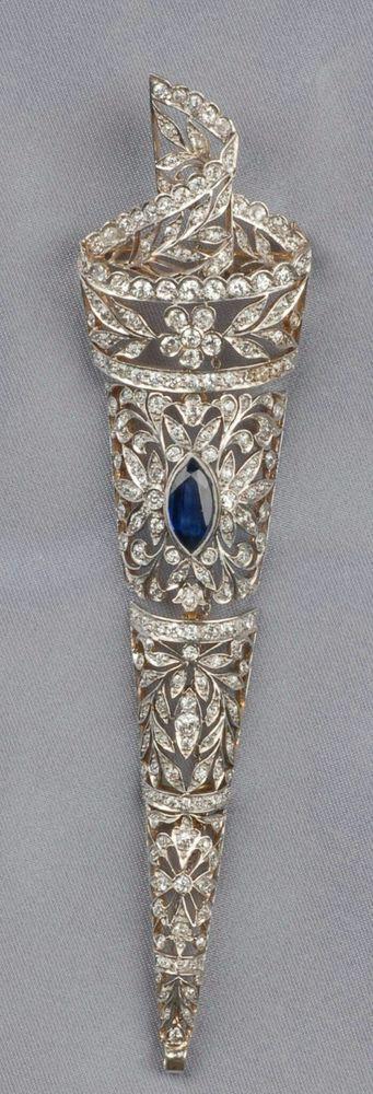 Blue Marquise cut vintage style brooch pin handmade sterling silver solid 925 #Handmade #HandmadeGoldJewellery