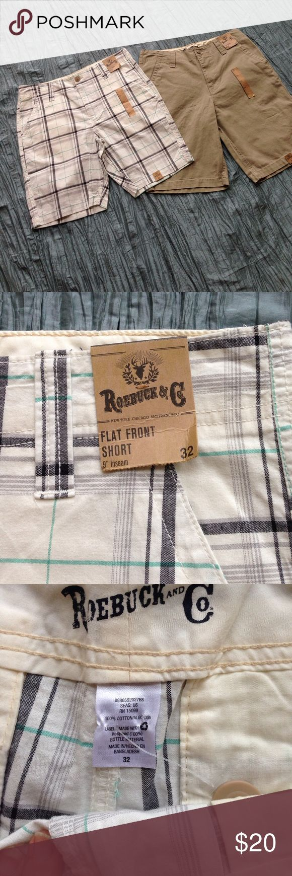 "🎈SALE🎈 2 prs. Men's shorts NWT One pair is off white, grey and green plaid. 9"" inseam. 32"" waist. The other is khaki with 11"" inseam and 32"" waist. Both are flat front. Get both for one low price! NWT Roebuck and Co. Shorts Flat Front"