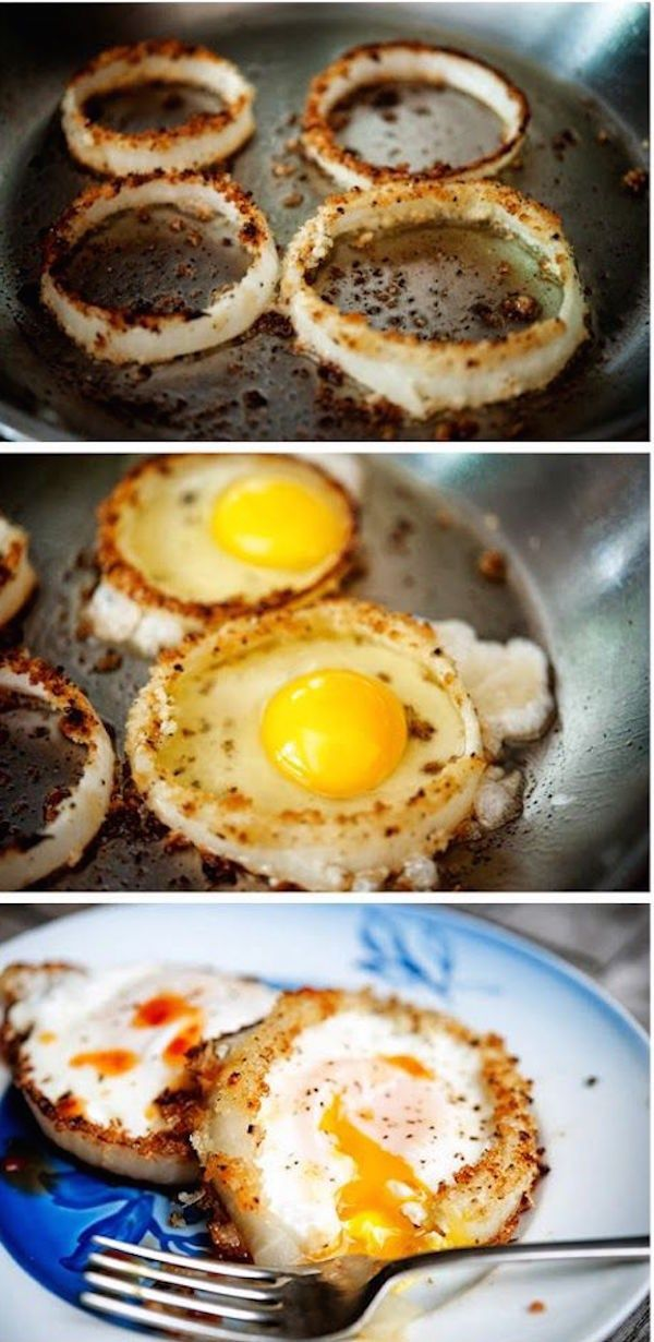 Onion Rings as Egg Moulds