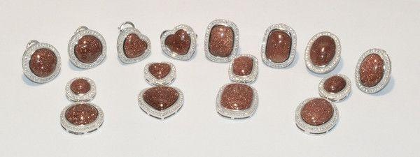 2-6509-e1 Gold Sand Stone (Venturina) Set (Other Shapes Available)