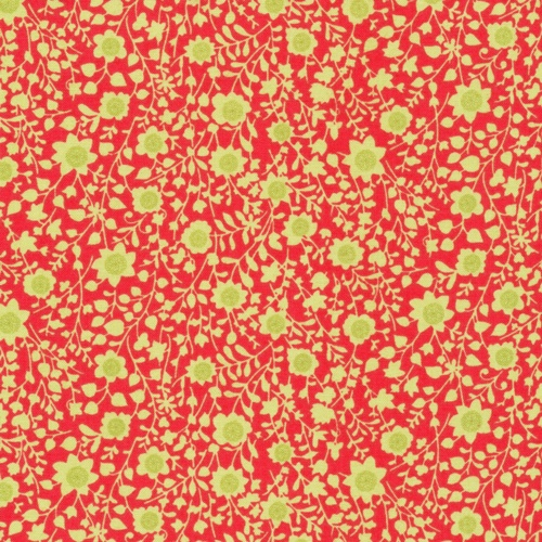 Retro green floral on red fabric designed by Ro Gregg exclusively for Paintbrush Studio.