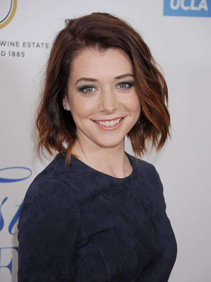 Alyson Hannigan sported a tousled bob in a dark shade of red at the 19th Annual Jonsson Cancer Center Foundation's Taste For A Cure on April 25, 2014.
