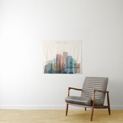 Portland Oregon | City Skyline Tapestry - typography gifts unique custom diy