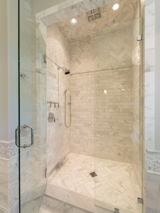herringbone tile shower floor and above for contrast 16794