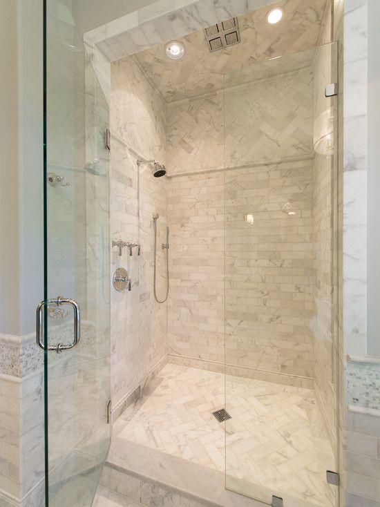 Herringbone Tile Shower Floor And Above For Contrast