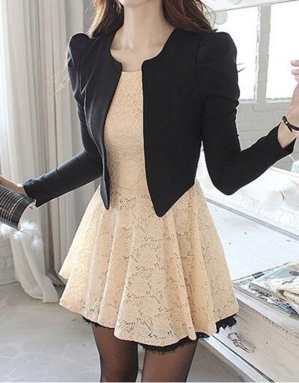 Jacket: black blazer and cream colored dress with lace dress simple cute blazer semi formal tumblr