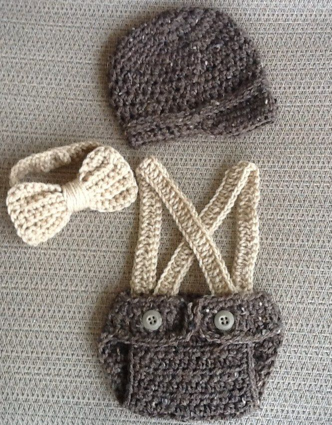 Little Mister Outfit- Little Man Suit/ Suspenders Baby Boy Outfit Barley-- Crochet/Knit Vintage Baby- Diaper Covers- Bow Tie- Suspenders...omg this is the best