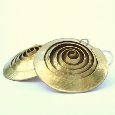 Spiral brass earrings | Contemporary Earrings by contemporary jewellery designer Debbie Long