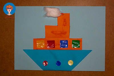 Ik heb nu ook eenorigami appvoor kinderen. Materialen: Gekleurd papier Twee gekleurde vouwblaadjes Watten Schaar Lijm Vouw een vierkant dubbel (onderkant stoomboot). Vouw de onderste punt naar b…