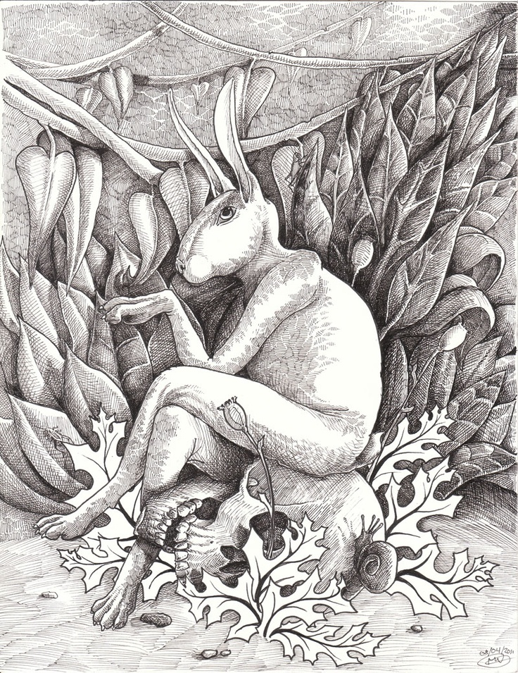 Original drawing for the painting Hare Today Gone Tomorrow