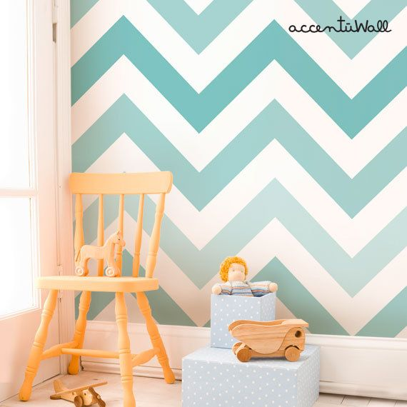 Chevron Teal Peel & Stick Fabric Wallpaper by AccentuWall on Etsy, $30.00