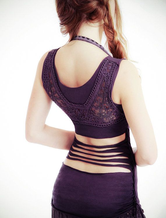 Purple Women top with upper back Crochet/lace detail by Shovava, $48.00