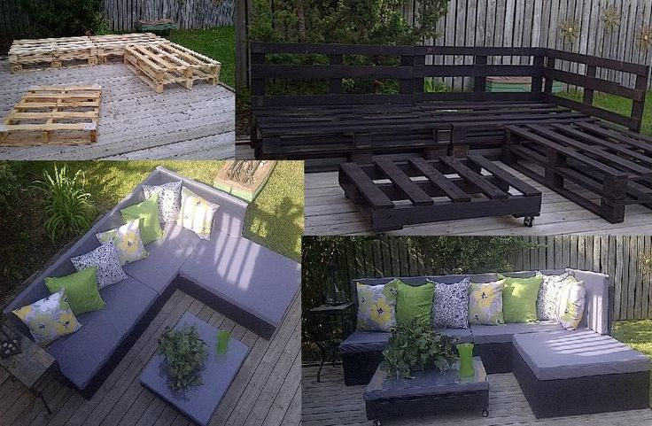 Turn wooden pallets into patio furniture: http://lifehacker.com/5924651/turn-wooden-pallets-into-patio-furniture