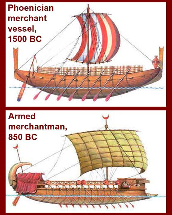 Merchant ships eventually were armed and double decked.  The upper deck offered some protection from pirate or enemy missiles and also increased   cargo capacity.  Merchant ships carried rostra, but usually not of the size or strength of those on the warships.  The Phoenicians were great innovators in ship design, but their ships were soon copied (or in the case of the Romans, copied much later).
