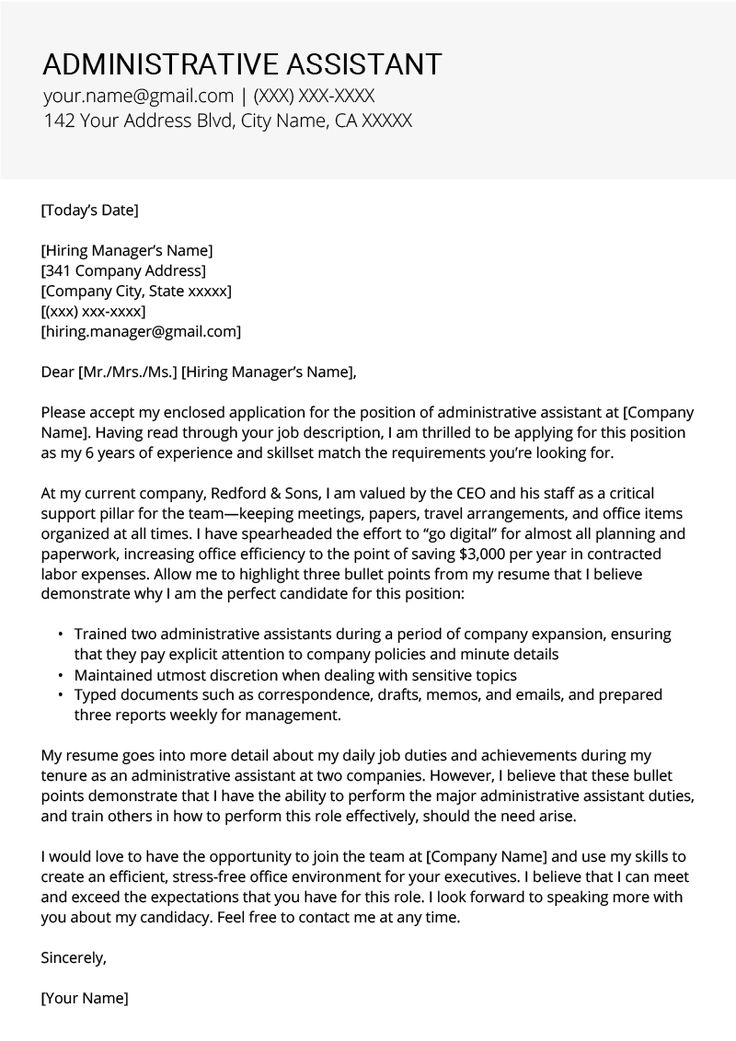 administrative assistant cover letter example  u0026 tips
