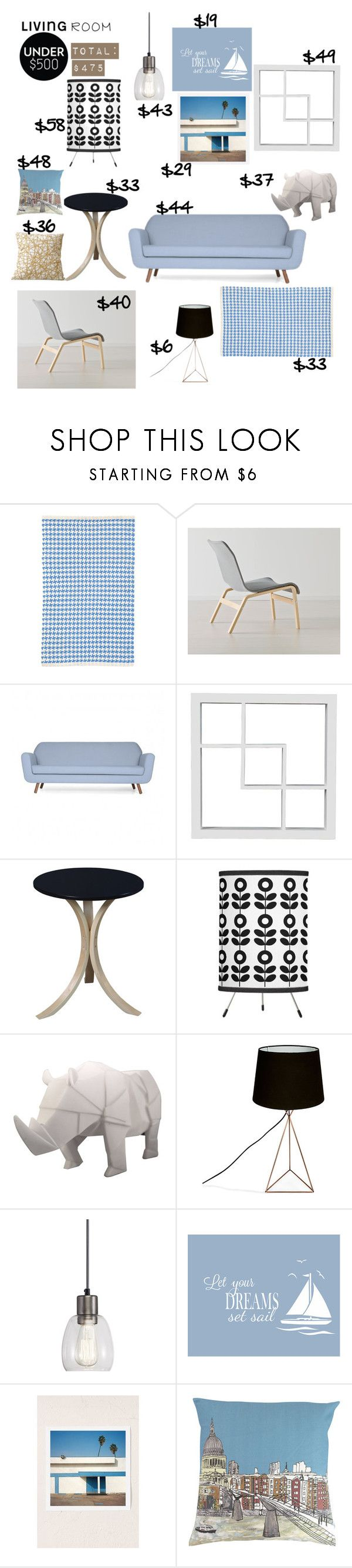 Living Room under $500: Scandinavian Flair by taci42 on Polyvore featuring interior, interiors, interior design, home, home decor, interior decorating, Regency Seating, Disaster Designs, Aztec Lighting and Dash & Albert