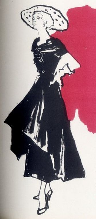 Fashion Illustrator Marcelle Chaumont, Spring 1949, Paquin, Album du Figaro, N°18, Paris.