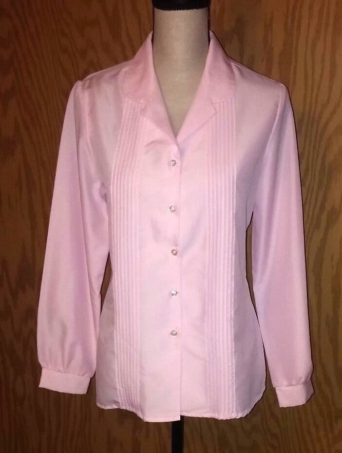 Nikki Women's Size 11/12 Blouse Shirt Pink Tuxedo Front Long Sleeve Vintage #Nikki #Blouse #WeartoWork
