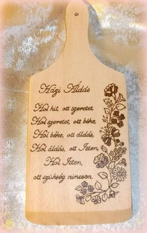 Házi áldás vágódeszka -KÉSZLETEN, Képzőművészet , Magyar motívumokkal, Konyhafelszerelés, Vágódeszka, Meska