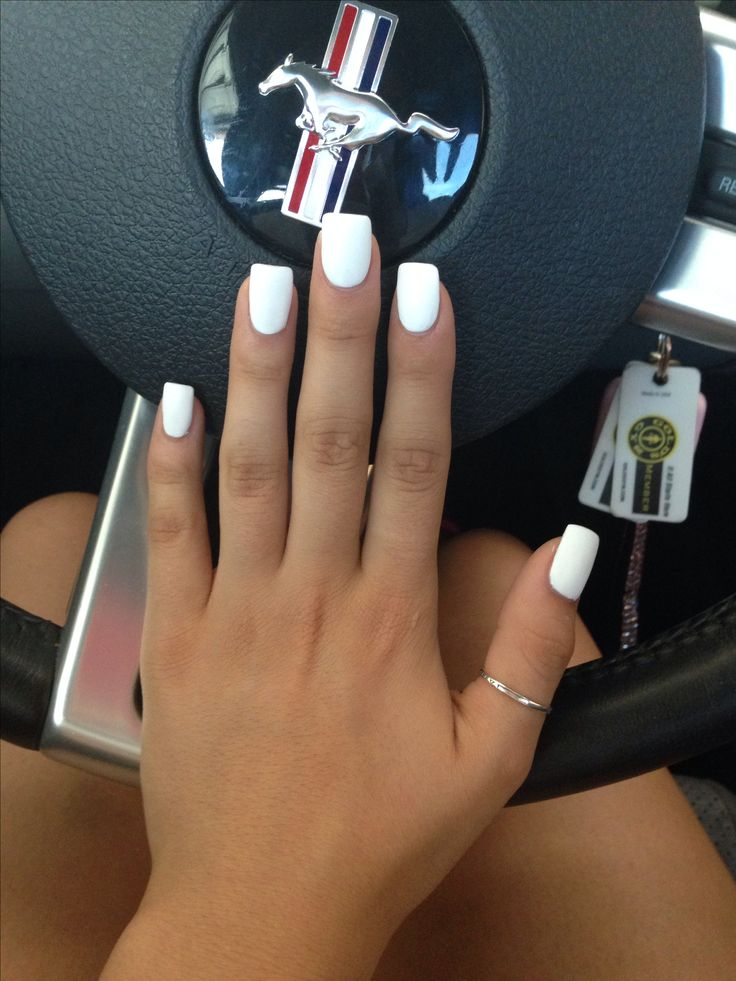 Matte white acrylic nails. I think these look so classy and chic.