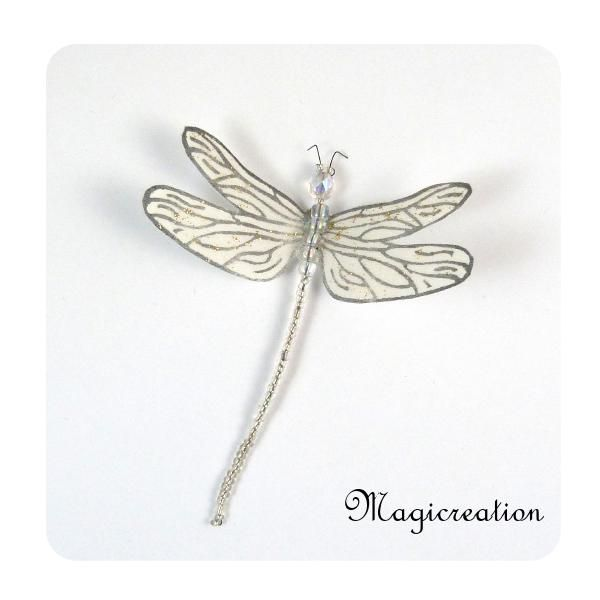 MAGNET LIBELLULE SOIE BLANCHE -DEMOISELLE - Boutique www.magicreation.fr