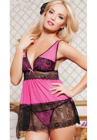 Sheer Lace and Net Babydoll XL-4XL