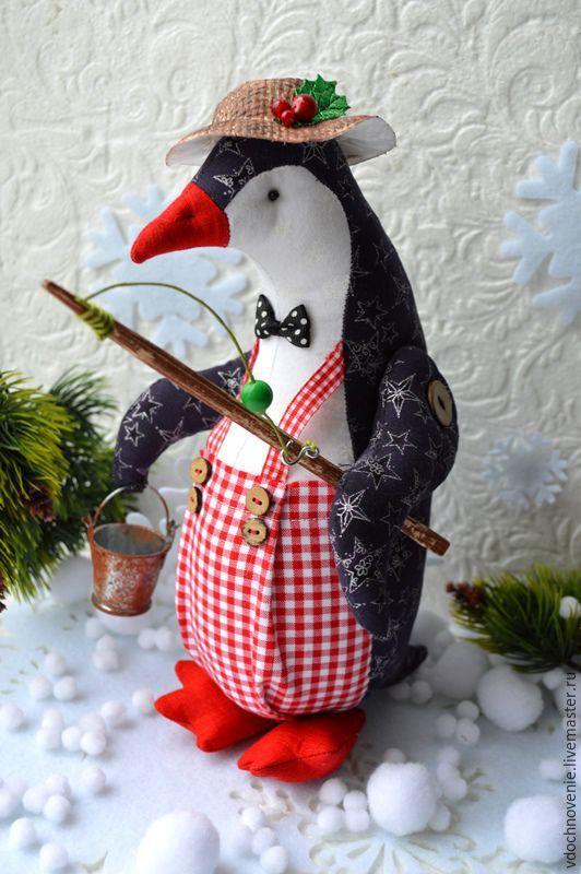 Купить Рыбачок Марсель. - пингвин, пингвинчик, пингвиненок, рыбак, рыбачок, интерьерная игрушка, текстильная игрушка