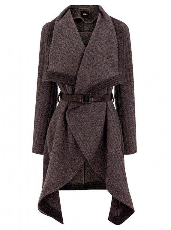 Oasis textured drape coat, £98