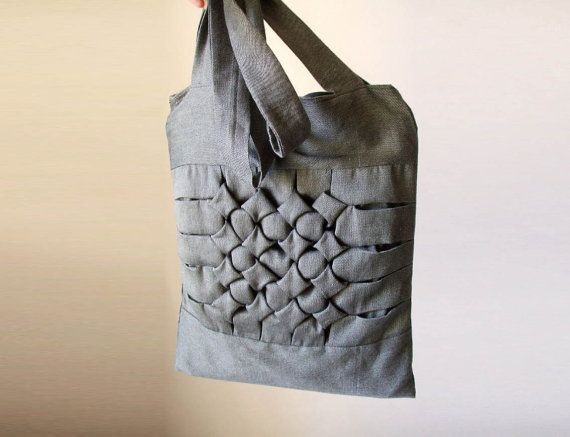 canvas tote bag vegan large purse origami style geometric pattern pleated shoulder bag on Etsy, $67.20 CAD