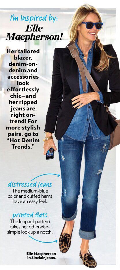Elle Macpherson in a black tuxedo blazer + denim button-up + distressed skinny jeans + leopard-print smoking slippers
