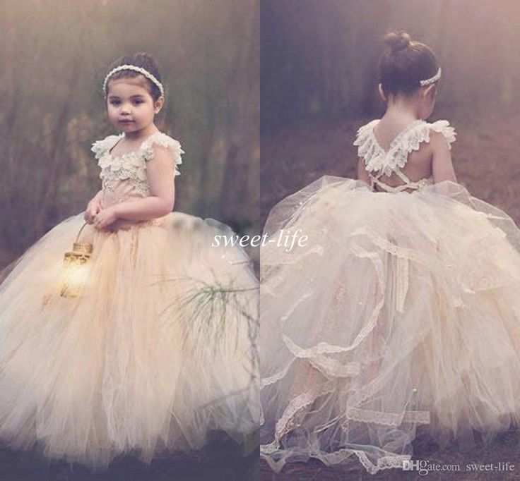 2015 Ball Gown Lace Flower Girls Dresses Champagne Tutu Cheap Strapless Cap Sleeve Cross Back Puffy Little Girls Kid First Communion Dresses Online with $89.58/Piece on Sweet-life's Store | DHgate.com