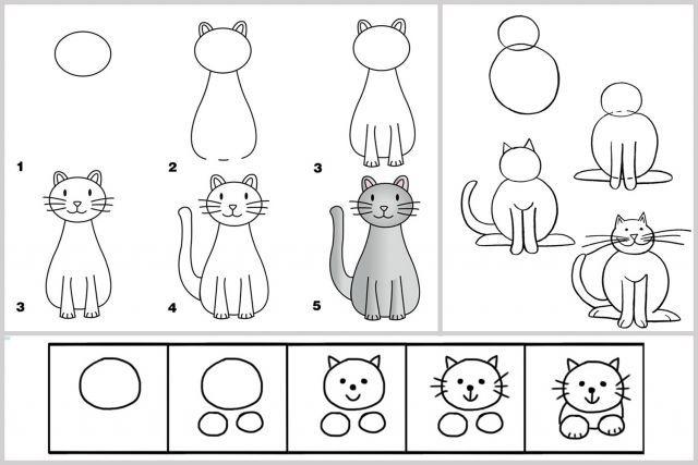 Techniques faciles pour apprendre à dessiner #enfants #chat