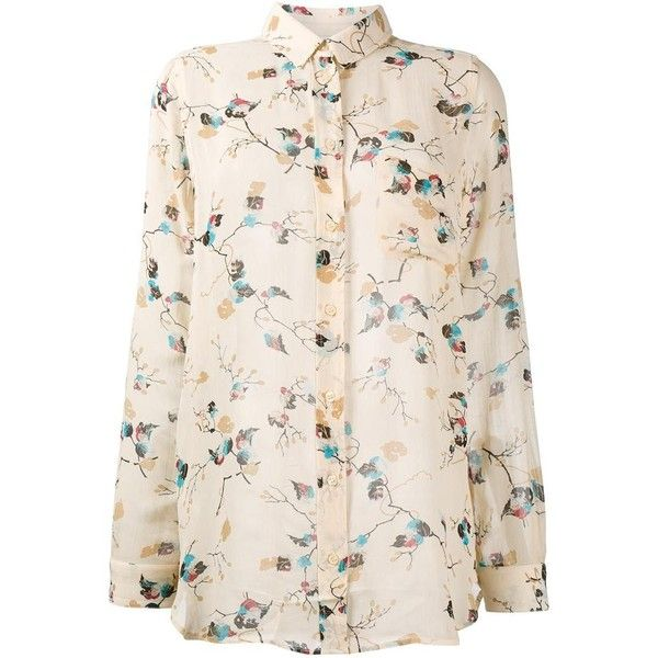 Ganni Ganni Biscotti Leaves Print Blouse (€97) ❤ liked on Polyvore featuring tops, blouses, cowgirl shirts, colorful shirts, shirt blouse, pink western shirt and button front shirt