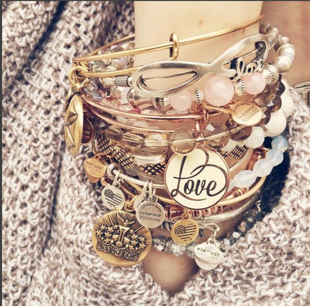 ALEX AND ANI Limited Edition Love Set of 3 | Love Color Infusion bangle | Rose gold shiny finish |