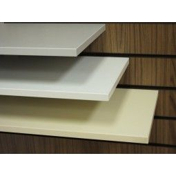 Slatwall display shelves. Pictured in white, cream and grey. These slatwall shelves are available in many colours and wood finishes. These versatile display shelves can be used in your slatwall gondola, slatwall panel and slatwall units.