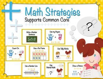 Each problem solving math strategy poster in this set can be used for math instruction in primary classrooms. Supports ELL students and young readers with graphics and easy to understand examples for each strategy.   Each of the 8 strategy posters are 8 1/2 x 11 with font size easily read from a distance if teachers choose to display them on classroom walls.