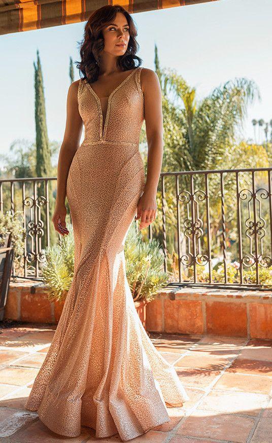 Nicole Bakti V-Neck Beaded Mermaid Gown