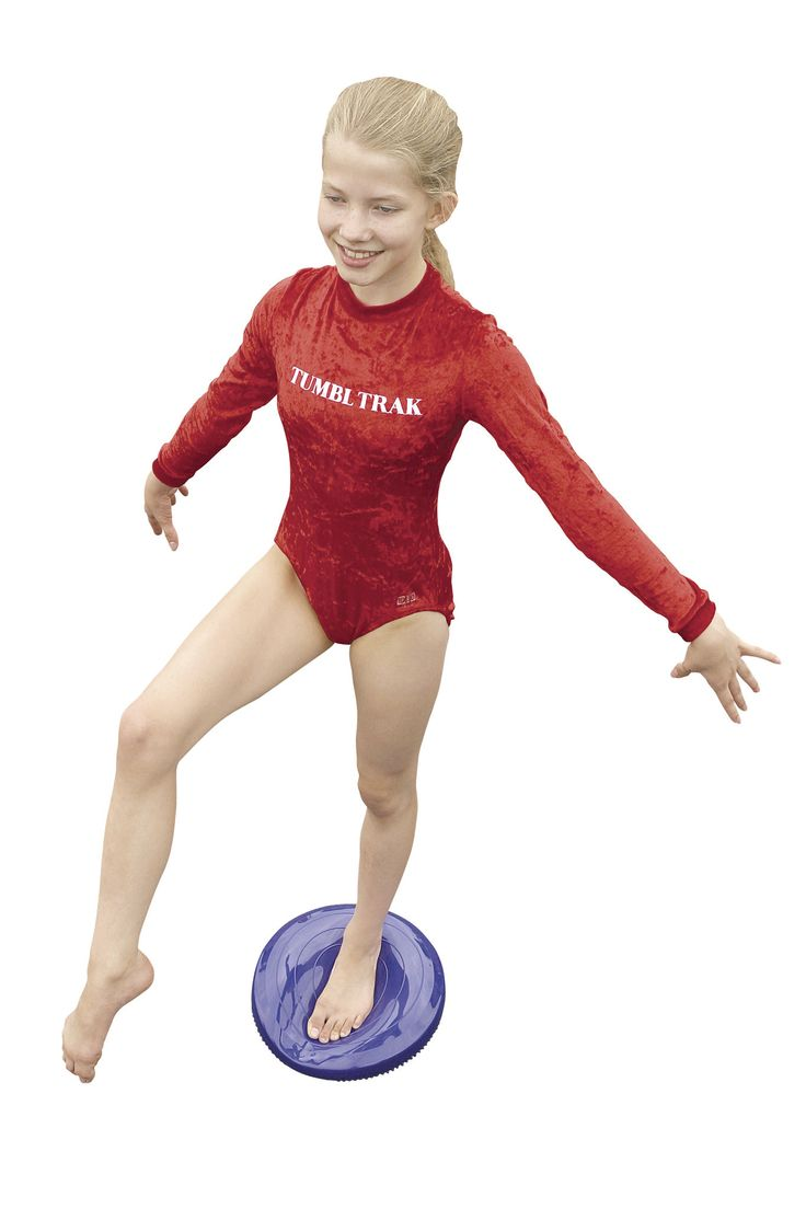 Balance Disc - cheerleading training - Tumbl Trak -  This concept in cheerleading and balance beam training is a simple and affordable solution.