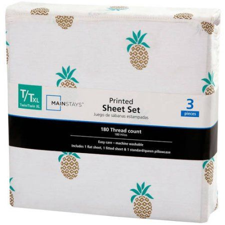 Mainstays 180 Thread Count Sheet Set, Twin/Twin XL, Pineapple, Multicolor
