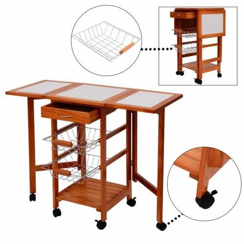 Folding Kitchen Trolley Cart Vegetable Fruit Storage Unit Rack Serving Island  #Unbranded